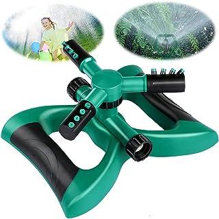 Garden Sprinkler, ELECDON Automatic 360° Rotating Water Sprinkler with 3 Arm Round Sprayer for Gardens Lawns Irrigation