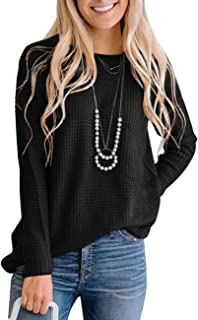 Women's Long Sleeve Waffle Knit Sweater Crew Neck Solid Color Pullover Jumper Tops