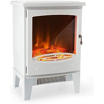 Chimenea eléctrica Castleton Suite de vidrio frente a fuego eléctrico 220/240 Vac, 1 & 2KW, 7 días de control remoto programable en una suite de la chimenea de MDF de crema ligera.: