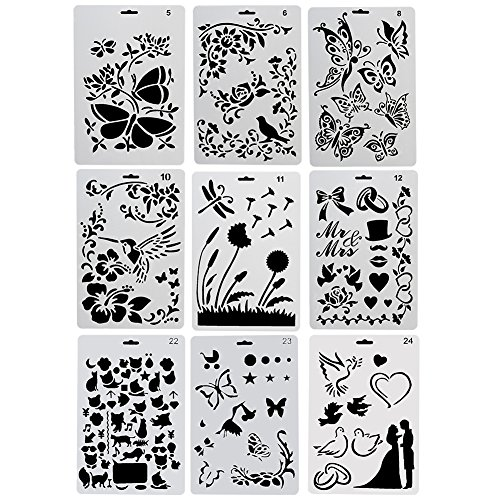 COCODE Plastic Drawing Painting Stencil Templates Set of 9 with Butterfly, Flowers, Birds, Figures, Animal Shape, Heart Shape Pecfect for Notebook/Diary/Scrapbook/Journaling/Card DIY Craft Project