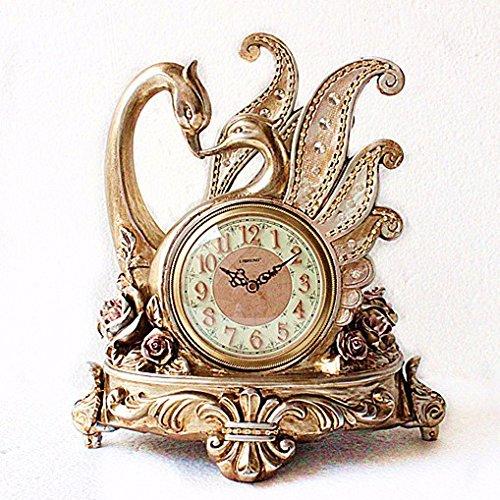 NIDAYE CNBBGJ Couple de Cygne Antique Clocks horloges Creative Mode Ornements décoratifs dans Le Salon réveil,B