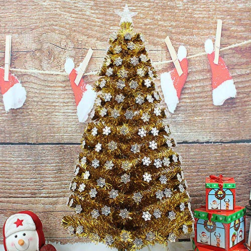 LIUSHI 4Ft Premium Pre-Lit Artificial Christmas Tree, with Snowflake Decoration Solid Metal Legs Christmas Pine Tree Flocked Snow Foldable Xmas Tree-a 120cm(47inch)