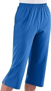 AmeriMark Capris Elastic Waist 100% Cotton Knit Pull On Comfort Fit Side Pockets