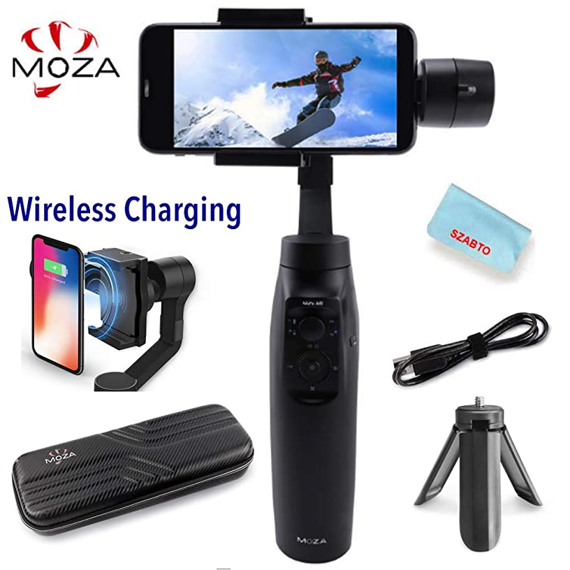Moza Mini-MI 3-Axis Handheld Gimbal Stabilizer Wireless Phone Charging,8 Follow Modes, for Smartphone iPhone X / 8/7/7 Plus / 6/6 Plus, Samsung Galaxy S8 + / S8 / S7 / S6 / S5 (Max Paylo