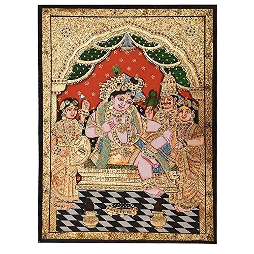 Indien étagère Peinture Faite Main de Krishna Darbar Murale Pt-43