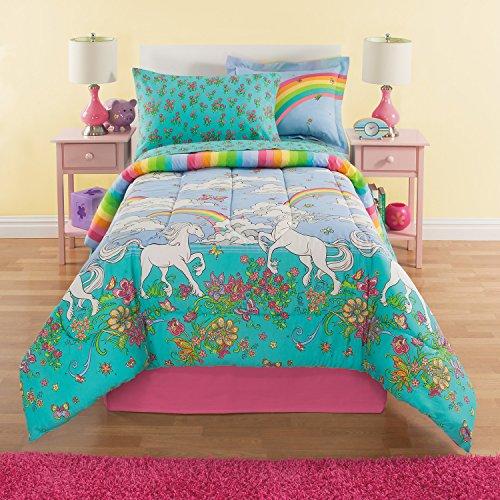 Kreative Kidz Rainbows & Unicorns Girls Twin Comforter Set (6 Piece Bed in A Bag) + Homemade Wax MELT