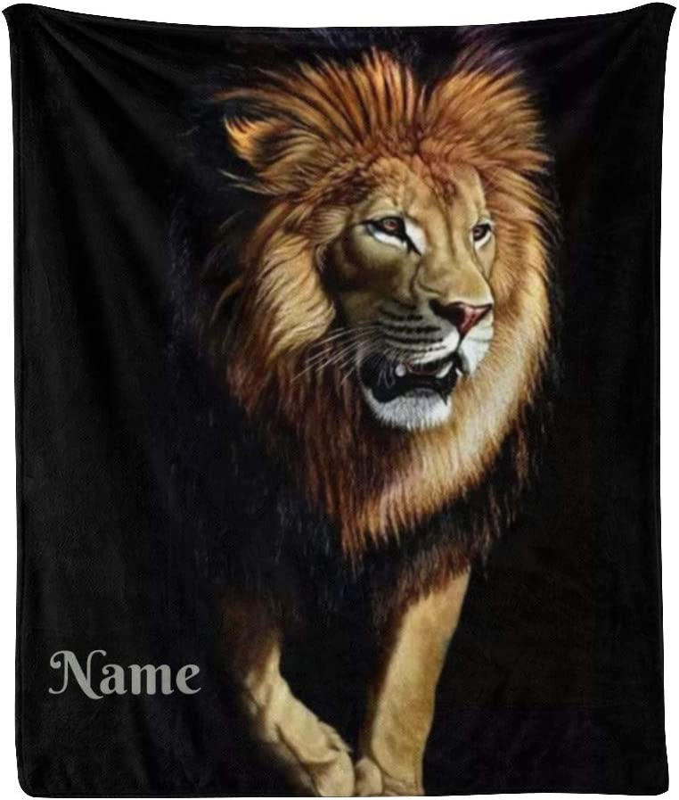 CUXWEOT Custom 全国一律送料無料 Blanket with Name Cool Sof Personalized Text 定番の人気シリーズPOINT(ポイント)入荷 Lion