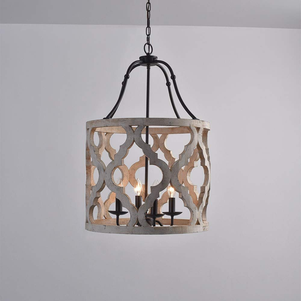 Jiuzhuo Vintage Distressed White Carved Wood 4 Light Lantern Farmhouse Chandelier Lighting Hanging Ceiling Fixture in Rust