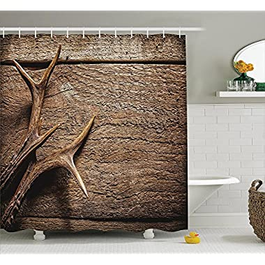Ambesonne Antlers Shower Curtain Decor, Deer Antlers on Wood Table Rustic Texture Surface Hunting Season Decorating Image, Polyester Fabric Bathroom Shower Curtain, 84 inches Extra Long, Tan PRU