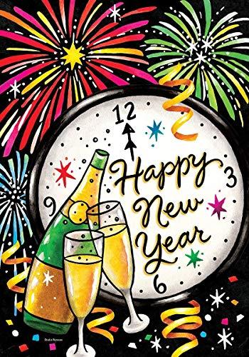 hongwei Décor personnalisé Happy New Years Eve - Format Jardin, Double Face décorative, Drapeau sous Licence et Copyright - imprimé aux États-Unis Inc. - 12,5 'x 18' env. Taille