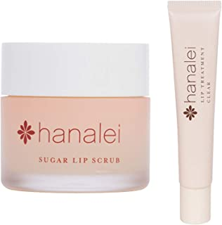 Hanalei Sugar Lip Scrub and Lip Treatment (Clear) Bundle, Made with Raw Cane Sugar and Real Hawaiian Kukui Nut Oil (Cruelt...
