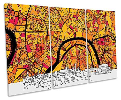 Canvas Geeks Lienzo Decorativo con diseño de Mapa de Moscú en el Horizonte, Color Naranja, 120cm Wide x 80cm High