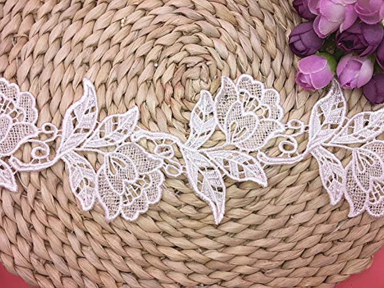 8.5CM Width Europe Floral Motifs Boho Pattern Inelastic Embroidery Lace Trim,Curtain Tablecloth Slipcover Bridal DIY Clothing/Accessories.(2 Yards in one Package) (White)
