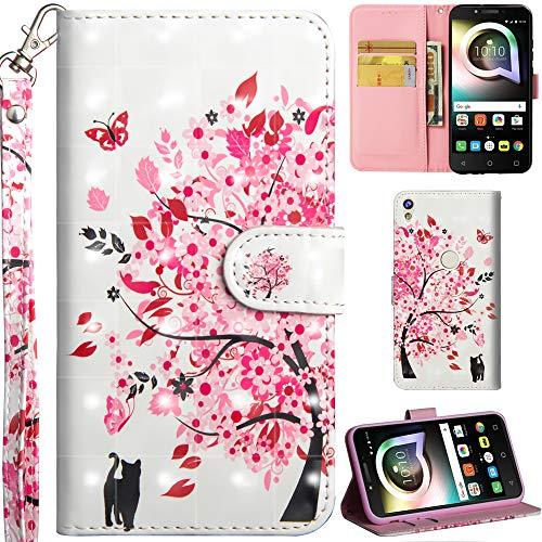 Ooboom Alcatel Shine lite 5080X Hülle 3D Flip PU Leder Schutzhülle Handy Tasche Case Cover Ständer mit Trageschlaufe Magnetverschluss für Alcatel Shine lite 5080X - Katze Baum