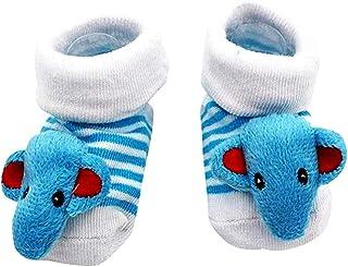 Lovelegis, Calcetines antideslizantes para niños - bebés - 0/12 meses - fantasía - elefante azul claro - rayas - hombre - mujer - unisex - idea de regalo de cumpleaños