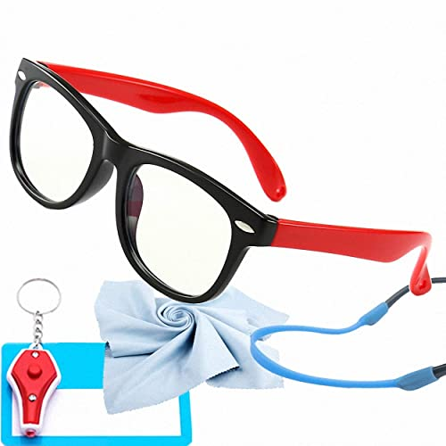 Kids Blue Light Glasses with Strap Computer and Gamer Eyewear Anti-Glare Protection Anti-Fatigue Anti UV Glasses for Smartphone Screens,Computer Or Tv Boys Girls Age 2-5(Black - Red)