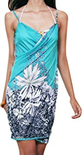Sexyshine Women's Sexy Spaghetti Strap Backless Floral Printed Beach Dress Bikini Cover up
