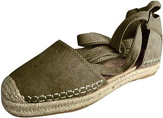 2381caaf12050d OverDose Sandales Espadrilles en Velours Femme Plate, à Lacets Été  Chaussures Cheville Sandales Taille 35