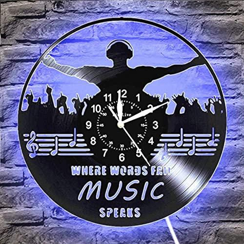 showyow Reloj de Pared LED Música Diseño Moderno Tema Musical Relojes de grabación clásicos Reloj de Pared Arte Decoración para el hogar Regalos para músicos