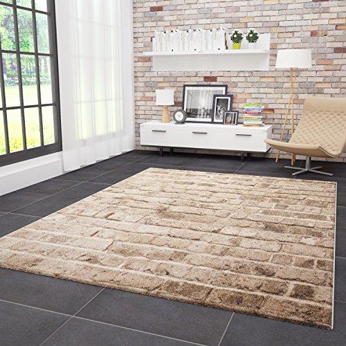 VIMODA Moderner Teppich Stein Optik Mauer Muster Strapazierfähig in Braun, Maße:80 x 150 cm