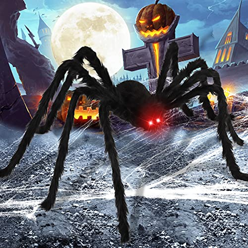 Airyard 6.5FT Halloween Giant Spider Decoration with LED Eyes, Large Black Hairy Spiders for Indoor Outdoor Decorations Yard Creepy Decor