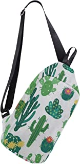 Mens Crossbody bag Blooming Cactus Plant Grass White Chest Backpack for Travel