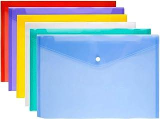 Folder File, 6Pcs A4 Plastic Document Office Files Envelope Folders Pockets, 6 Colors