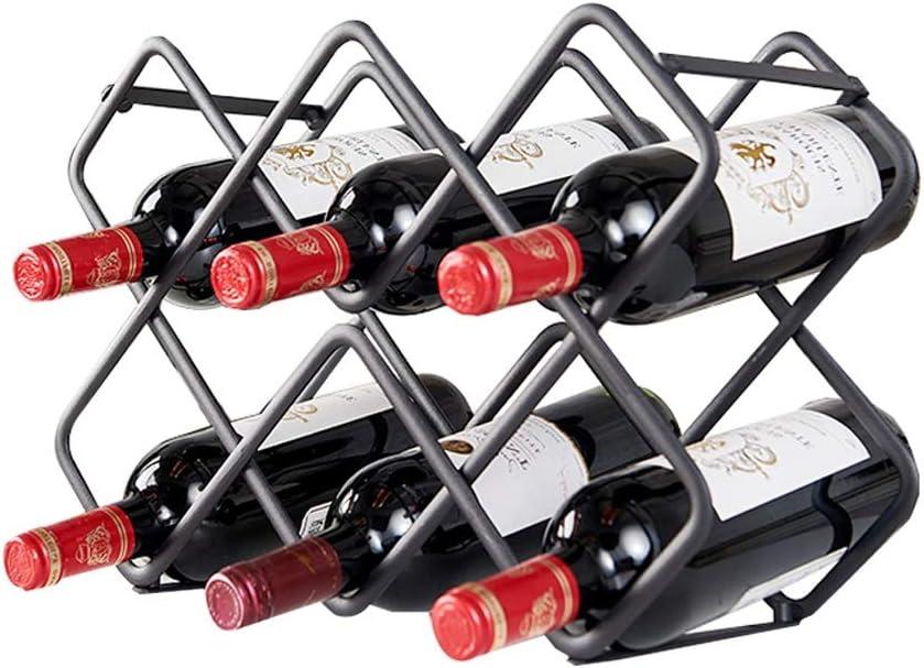 zxb-shop Botellero de la encimera Metal Wine Rack Countertop Wine Rack Vinoteca Independiente Armario Decoración for el hogar (Negro) Soporte de Vino para Almacenamiento Vino