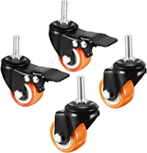 uxcell 1.5 Inch Swivel Caster Wheels PU 360 Degree Threaded Stem Caster Wheel M8 x 25mm, 330lb Total Load Capacity, Pack of 4 2 Pcs with Brake, 2 Pcs No Brake
