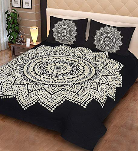 Lakshita Enterprises 100% Cotton Double Bedsheet Animal Print Design with 2 Pillow Covers- King Size, Black (270 cm X 225 cm)
