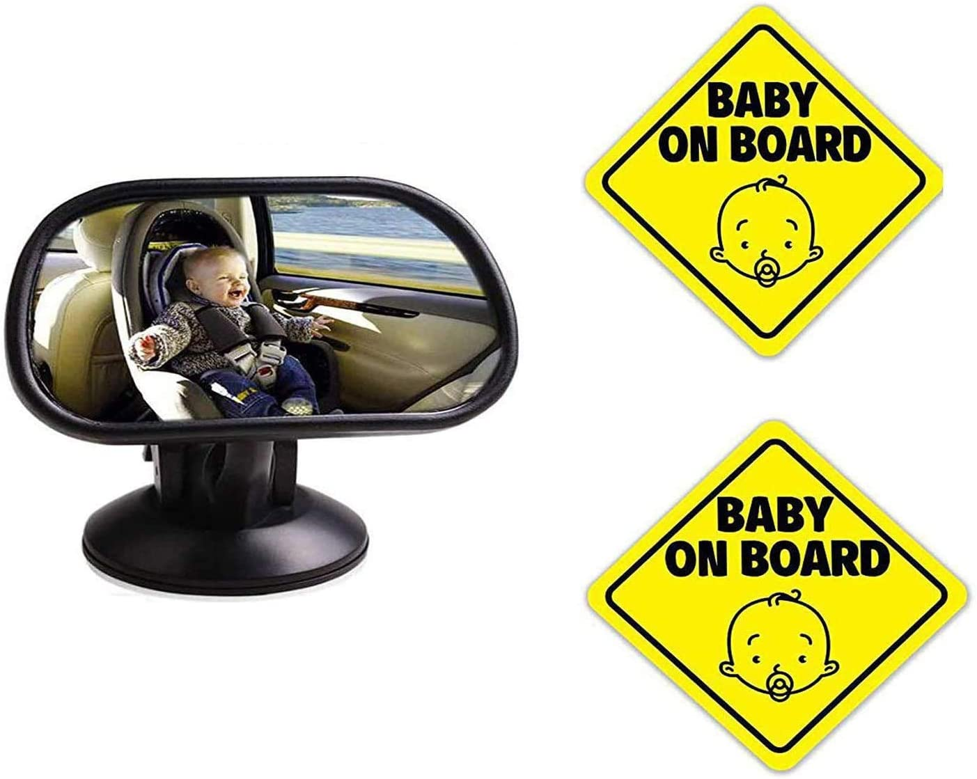 Baby Car Backseat Mirror, Car Baby Rear View Mirror Child Infant Safety Observation Mirror & Baby On Board Sign Magnet for Car, Magnetic and Reflective Safety Cute Design