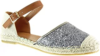 Zapatillas de Moda Alpargatas Sandalias Mary Jane Abierto Mujer Brillante Strass Cuerda Talón tacón Plano 1 CM - Gris