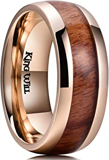 King Will Nature Koa Wood Inlay Titanium Wedding Ring 8mm Rose Gold Plated Dome Style High Polished Comfort Fit