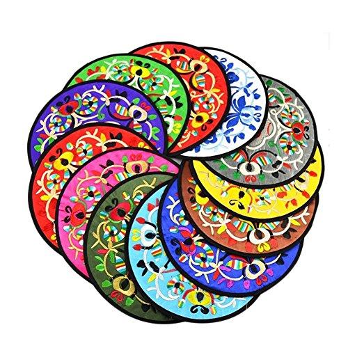 10x Chytaii Dessous de Verre/Plat/Bol/Tasse en Tissu Broderie Rond Sous-Bock Tapis Anti-Dérapent Multicolore