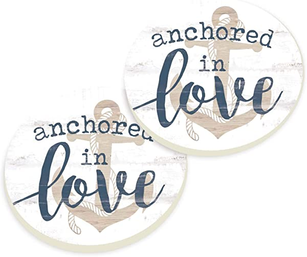 Anchored In Love Nautical Blue 3 X 3 Absorbent Ceramic Car Coaster Pack Of 2