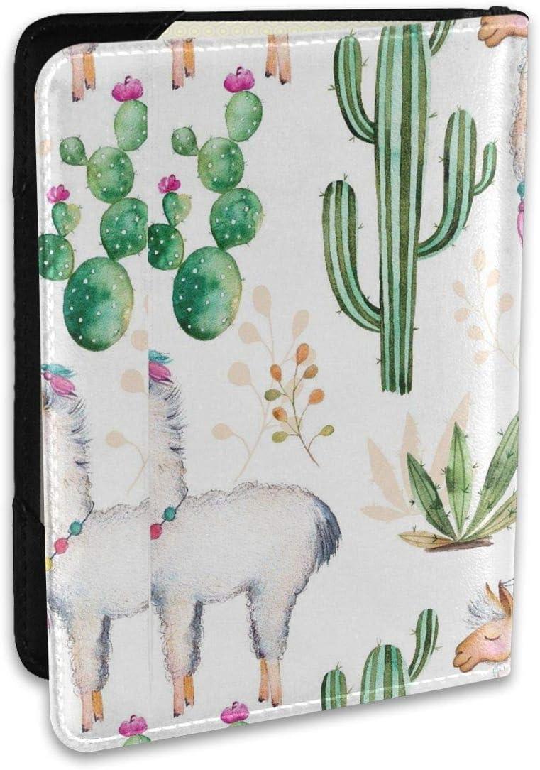 Llamas Cactus Virginia Beach Mall Pattern Personalized Passport Hold Fashion Leather Nippon regular agency