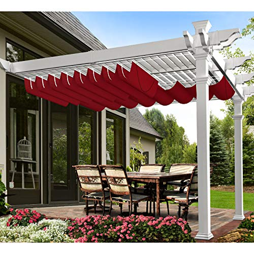 E&K 4'Wx16'L Wine Red Waterproof Retractable Shade Cover for Pergola Canopy Slide on Wire Hung Canopy Wave Shade Sail Awning for Wood Pergola Patio Deck