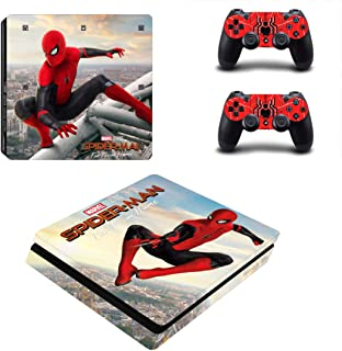 Decal Moments PS4 Slim Console Skin Set Vinyl Decal Sticker for Playstation 4 Slim Console Dualshock 2 Controllers-Spiderman (PS4 Slim Only)