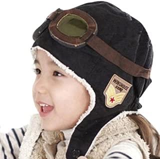 Cool Pilote Aviateur Polaire Chapeau Bonnet avec Cache-oreilles pour bébé protection noir//marron