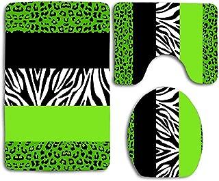 Huayuanhurug Lime Green Animal Print Stripes Zebra Leopard 3Pcs Bathroom Set Rug Contour Mat + Toilet Lid Cover + Bath Mats