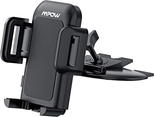 Mpow 051BB Car Phone Mount, CD Slot Car Phone Holder, Car Mount with Three-Side Grips and One-Touch Design Compatible...