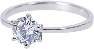 MOONSTONE Women's Classic Round Cut 6 Prong Setting Cubic Zirconia Fashion Engagement Ring