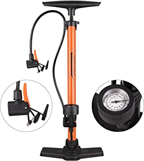 Alloy Body Mountain Bike Foot Floor Pump with Gauge 140 PSI Fits Presta Schrader