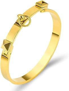 Titanium Steel Dual Pyramid Cuff Bracelet Bangle