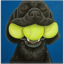 CafePress Black Lab with 3 Tennis Balls Tile Coaster, Drink Coaster, Small Trivet