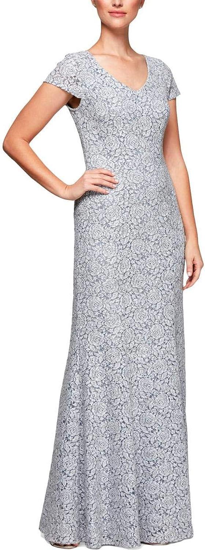 Alex Evenings Womens Petites Cap Sleeve Lace Formal Dress