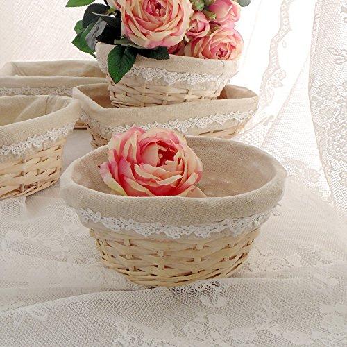 lavable doublure coton motif blanc et rose Corbeille en osier blanc,panier en osier,Corbeille de rangement,housse amovible