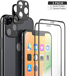2 Pack iPhone 11 Pro Max Camera Lens Protector + 2 Pack Tempered Glass Full Coverage 3D Glass Screen Protector Film Anti-Scratch,Anti-Fingerprint,Ultra Thin Protection for iPhone 11 Pro Max 6.5''