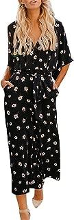 Chiffon Jumpsuit for Women V-Neck Short Sleeve Floral Print Belt Playsuit with Pockets