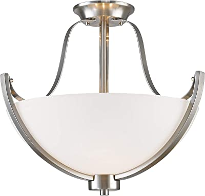 Craftmade X1611-EB 2 Light Semi Flush Mount Fixture with Alabaster Glass with Antler Accents European Bronze